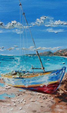 Monika Luniak - Paintings for Sale Sailboat Art, Sailboat Painting, Sea Art, Original Paintings, Paintings For Sale, Oil Painting On Canvas, Urban Art, Painting Inspiration, Lovers Art