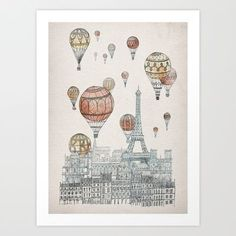 Voyages Over Paris Art Print by David Fleck - $18.00 http://society6.com/product/voyages-over-paris_print?curator=MapsMapsMaps