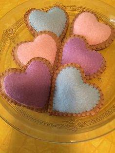 Felt heart shaped cookies with icing. Icing can be made any color at your request to suit your taste or occasion.
