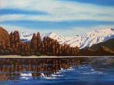 Autumn in Wanaka Acrylic by Jane Guise Acrylic Paintings, New Zealand, My Arts, Autumn, Mountains, Nature, Artist, Artwork, Travel
