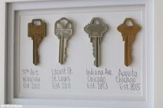 Turn Your Old Keys into a Sweet Keepsake and DIY Art. More Aww I wish we had our old keys to our old apartments! Easy Home Decor, Cheap Home Decor, Simple Apartment Decor, Hm Deco, Diy Playbook, Old Keys, Keys Art, Diy Décoration, Do It Yourself Home