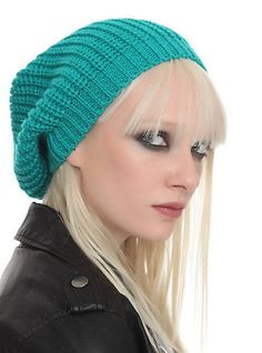 Hot Topic Beanies   Teal Lurex Slouch Beanie   Hot Topic