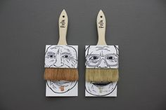 "different approach to packaging paint brushes. makes the customer focus on the ""mustache"" and face rather than a plain and boring paintbrush."
