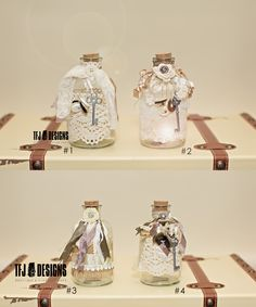 Shabby Chic Glass Bottles Jar - Fairy Jar - NEW - Vintage Inspired Style, $18.00 by TFJ Designs