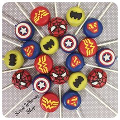 12 Comic Book Cake Pops for Superhero birthday by SweetWhimsyShop