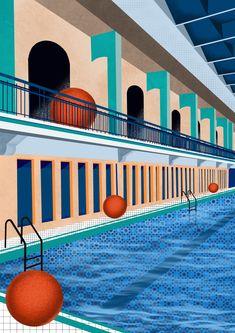 #illustrationdigital #illustration #piscine #swimmingpool #paris #parisian #procreate