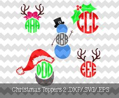 Christmas Monogram Toppers2 .DXF/.SVG/.EPS by KitaleighBoutique, $3.49