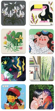 Megan Woods, Colossal Art, Trippy, Contemporary Art, Coasters, Miniatures, Embroidery, Wall Art, Canvas