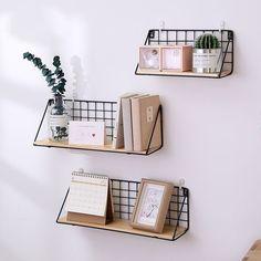 Handmade Nordic Style Wooden Wall Shelves and Hanger - Room Inspo - Wooden Wall Shelves, Shelf Wall, Metal Shelves, Wall Shelving, Decorative Wall Shelves, Floating Shelves, Wooden Wall Bedroom, Wire Basket Shelves, Small Wall Shelf