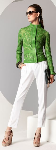That jacket is trendy & with the white pants it makes the chartreuse jacket stand out.  Not loving the wedges.  Too close to the skin color.  But it is a sharp looking outfit.