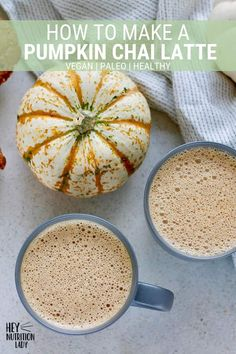 Save your money and make a delicious Pumpkin Chai Latte at home! Made with real pumpkin, seasonal sp Vegan Pumpkin, Pumpkin Recipes, Pumpkin Spice, Healthy Pumpkin, Vegetarian Comfort Food, Tasty Vegetarian Recipes, Vegetarian Thanksgiving, Thanksgiving Recipes, Winter Recipes