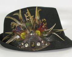 psy wear: fedora hat with feathers for festival, cosplay, burning man, rave, party