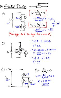 Potential Divider Summary - tecnology World Physics Theories, Physics Lessons, Learn Physics, Basic Physics, Physics Formulas, Physics Notes, Physics And Mathematics, Electrical Engineering Books, Engineering Notes