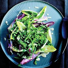 Endive and Snap Peas with Parmesan Dressing:  For parties, toss the dressing with just the snap peas and spoon the mixture into endive spears to make a simple finger-food appetizer. Get the recipe | Health.com