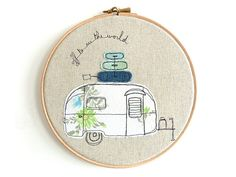Embroidered Hoop Art  Airstream Bambi Textile por ThreeRedApples