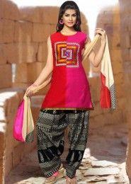 Casual Wear  Art Silk Pink Printed Patiala Suit