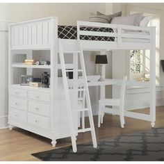 Looking for Pemberly Row Full Kids Wood Loft Bunk Bed Desk Dresser White ? Check out our picks for the Pemberly Row Full Kids Wood Loft Bunk Bed Desk Dresser White from the popular stores - all in one. Bunk Bed With Desk, Loft Bunk Beds, Modern Bunk Beds, Bunk Beds With Stairs, Kids Bunk Beds, Bed With Drawers, Kura Bed, Girl Loft Beds, Desk Bed