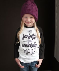 Loving this The Talking Shirt White & Black 'Fearfully and Wonderfully' Raglan - Toddler & Kids on #zulily! #zulilyfinds