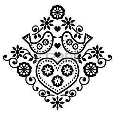 Folk arte floral vector patr�n negro con las aves photo
