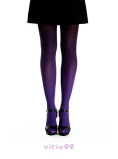 Ombre tights purple-black