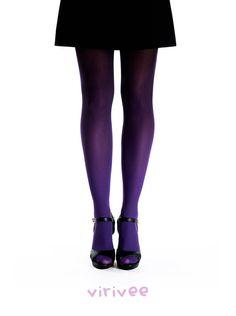 Ombre tights purple-black