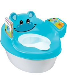 Potty training is fun with this adorable hippo training seat! It comes with an illustrated story book that the hippo can actually read to your toddler. Click above to buy one.