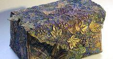 Liz Scobie - fabric box - creative machine embroidery and hand painting Fibre Textile, Textile Art, Fabric Art, Fabric Crafts, Water Soluble Fabric, Fabric Covered Boxes, Fabric Bowls, Creative Box, Textiles Techniques