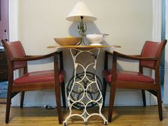 antique sewing table turned breakfast table