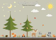 Camping Decal Pine Tree Decal-Forest Wall Decal-Woodland Animal Decals-Star-Sun-Moon Decal-Tree Decal