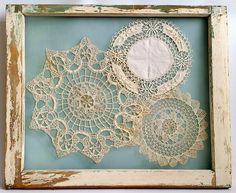 This is the best way to display your grandmother's vintage crocheted doilies. They are stitched to screen that has been attached to an antique salvaged window frame. ------------- #doilies #picture #frames #frame #custom #framing #home #decor