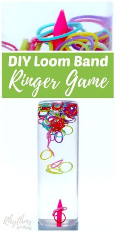 A DIY rainbow loom band ringer game sensory bottle is an easy way to help children (and adults) relieve stress while they play. Calm down jars like this ringer game for kids and adults of all ages can be used for safe no mess sensory play, a science teaching aid, and to help children develop their concentration and focus. Discovery bottles are the perfect way for babies and toddlers to play games with small items without the risk of choking on them.