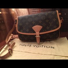 Authentic Louis Vuitton~ Sologne Authentic  LV Sologne Bag in Monogram Canvas. This bag is in excellent condition. It has been stored in the dust bag. The strap and trim doesn't show much aging both are still rather light in color. This bag has a buckle closure and could be carried as a cross body. Louis Vuitton Bags Shoulder Bags