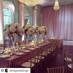 """F & G Weddings ""As its #NationalPinkDay I thought I'd share this fabulous pic of our wedding from last weekend with fabulous pink sequin linens by I Do Linens and a gorgeous blush drape by Unique Event Elements. Now that's how you celebrate!!! Thanks to Edge Design Group for the amazing florals and Papered Wonders, Inc. for the gorg stationery"" """