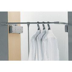 1 St/ück Gedotec Kleider-B/ügelhalter ausziehbar MAYA Kleiderb/ügel-Auszug Kleiderl/üfter Schrank-Montage Kleiderhalter zum Schrauben am Oberboden Garderoben-Auszug Chrom poliert L/änge: 300 mm