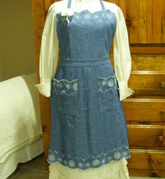 Jean Jewelry & Things - denim apron created from old denim dress - very country kitchen!