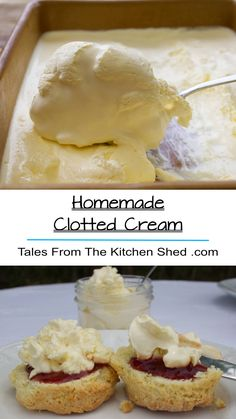 Homemade Clotted Cream - Tales From The Kitchen Shed Easy Gluten Free Desserts, Easy Desserts, Pavlova, Clotted Cream, Sauce Creme, Baking Recipes, Kitchen Recipes, Beef Recipes, Trifle Pudding