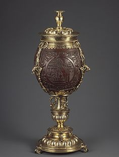 Cup with cover Hans van Amsterdam (recorded Date: Medium: Silver gilt, coconut shell Nautilus, Coconut Cups, Coconut Shell, Coconut Water, Historical Artifacts, Objet D'art, Metropolitan Museum, Art History, Metal Working