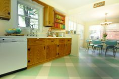 Diana's 10 - yes, ten! - kitchen floor tile pattern mockups - and the final choice, tweaked some more - Retro Renovation