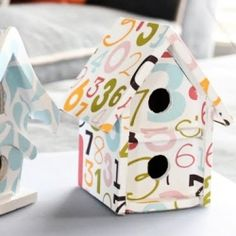Bird houses from craft store and scrapbooking paper.