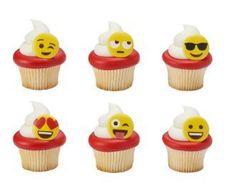 Anillos de Emoji Cupcake cumpleaños boda conjunto de caras sonrientes de 12 tazas pastel