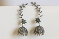 Oxidized Silver Jhumka with Ear Climber
