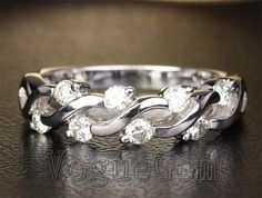 $560  Solid 14K White Gold  Diamond Fashion Design Wedding Band Ring