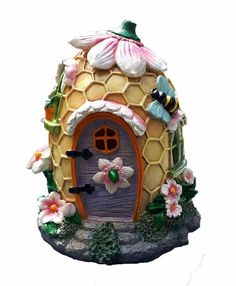 Mystic Backyard Photo voltaic Resin Fairy Backyard Home. Lights up at Evening; Indoor or Out of doors Fairy House for Flower Gardens, planters, Window Containers, Terrarium or Yard. Solar Fairy House, Fairy Garden Houses, Fairy Gardening, Garden Gnomes, Fairies Garden, Mystic Garden, Beehive Design, Glass Bottle Crafts, Clay Fairies