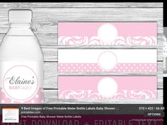 Printable Water Bottle Labels ItS A Girl Baby Shower Light Blush
