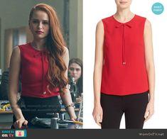 Cheryl's red tie neck top on Riverdale.  Outfit Details: https://wornontv.net/65281/ #Riverdale