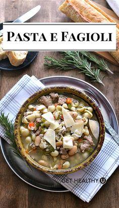 This hearty Pasta e Fagioli soup recipe has tons of delicious veggies ...