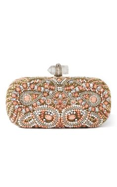 Shop Marchesa Lily Embroidered Clutch in Coral at Moda Operandi