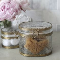 """Inspired by vintage designs, this lovely box will add glamour and style to your restroom. Features a gold filigree frame surrounding glass. Pair this with the matching products from the Park Hill line to complete the look.  • 3.5""""D x 5""""W x 4.5""""T • Glass/Metal • Gold/Glass • Any accessories shown in photo not included."""