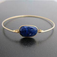 Blue Lapis Bracelet 14k Gold Bangle Blue Lapis by FrostedWillow