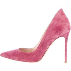 Pre-owned Gianvito Rossi Ellipsis Pumps ($445) ❤ liked on Polyvore featuring shoes, pumps, heels, pink, rose shoes, pink pointy toe pumps, heels & pumps, suede pumps and rose pink shoes